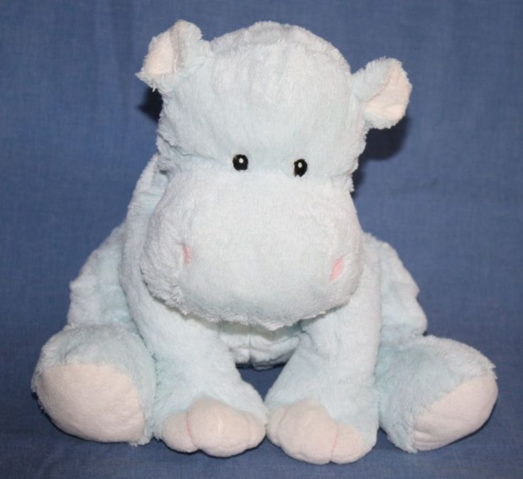 Toys R Us Hippo Hippopotamus Light Blue Plush Sewn Eyes