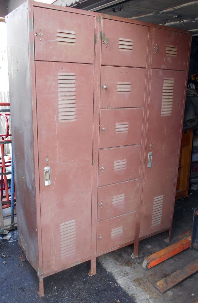 vintage industrial metal lyon lockers set w key s s gym employee - Employee Lockers