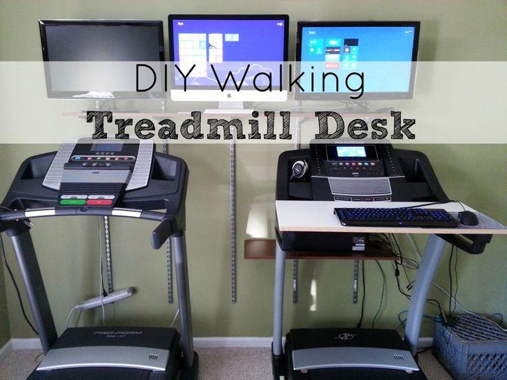 DIY Walking Treadmill Desk and Shelves Installed | http://savingthefamilymoney.com/walking-treadmill-desk-and-shelves-installed/