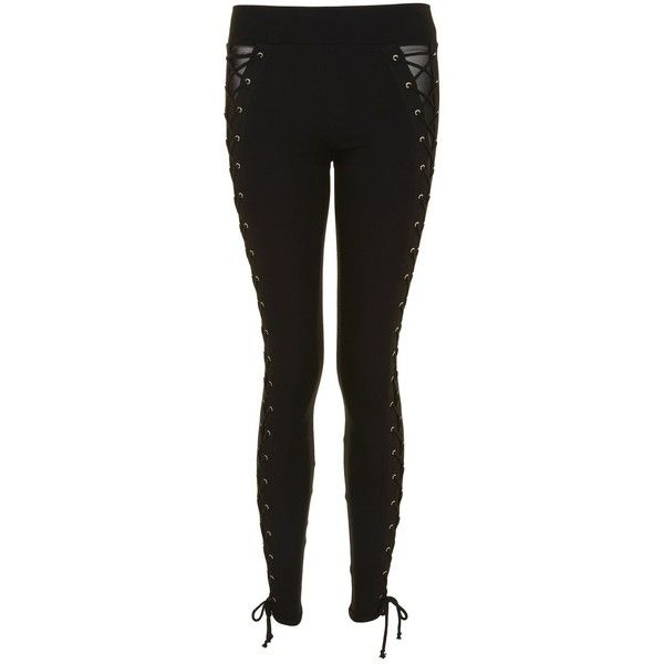 Topshop Lace Up Leggings ($40) ❤ liked on Polyvore featuring pants, leggings, lace up trousers, legging pants, topshop leggings, elastic waistband pants and thick leggings