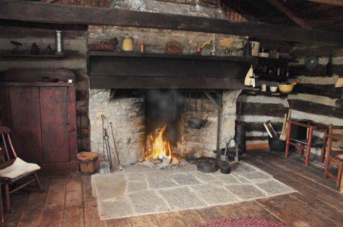 Original Irish settlers cabin, with open hearth. Moreston heritage village
