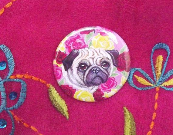 Round mirror: Pug dog & roses artwork on a by TheKestrelAndTheSea