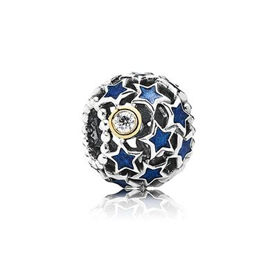 PANDORA | Openwork star silver charm with 14k, blue enamel and cubic zirconia
