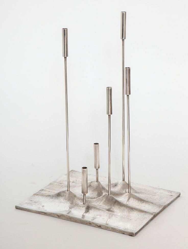 Tapio Wirkkala; Silver Plated Cast Metal 'Sol Luminaire' Candle Holder for Christofle, 1959