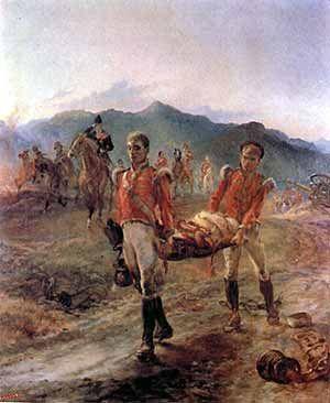 Batalla de Talavera de la Reina (España, 28 de Julio 1809). 43.º Infantería Ligera transportando bajas después de la batalla. Más en www.elgrancapitan.org/foro