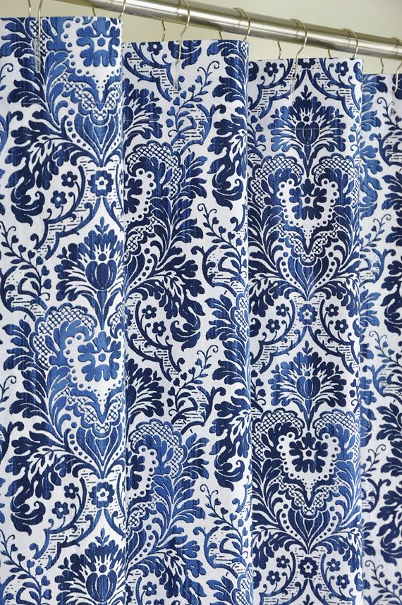 72 X 84 LONG Navy Damask Shower Curtain   EXTRA LONG