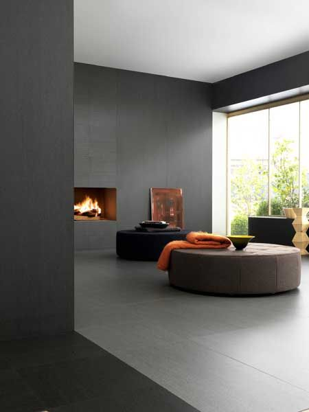 Ultra thin laminated #stoneware wall/floor tiles for indoors and outdoors SLIMTECH BASALTINA STONE PROJECT by @Lea Ceramiche