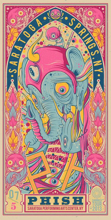 """You'll finally get a shot at Drew Millward's new Phish posters later this week. These are 12"""" x 24"""" screenprints, have editions of 1000 (much, much less online)."""
