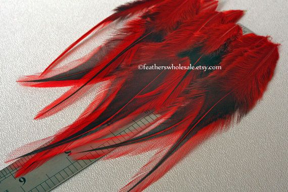 Red Craft Feathers Fly Tying Hackle Bright by featherswholesale