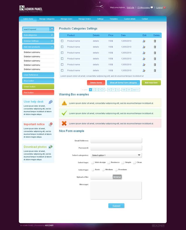 Free Html/CSS & jQuery Admin Panel – INADMIN