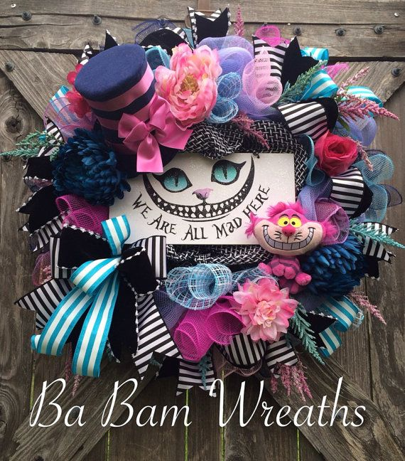 Alice In Wonderland Alice Wreath Alice Decor Mad by BaBamWreaths