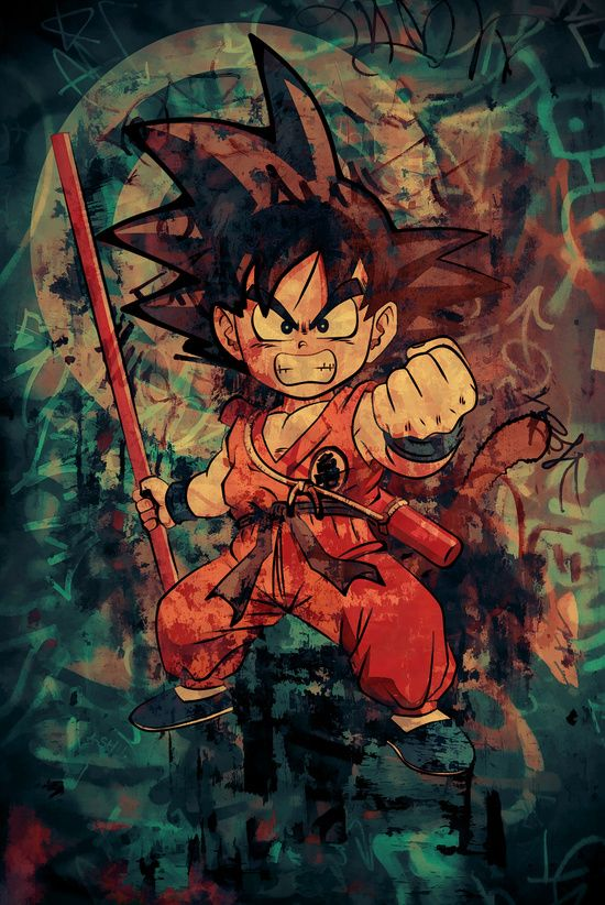 Goku Dragonballz Anime Graffiti Print Kid Goku