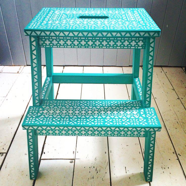 Stencilled step stool. nicolettetabram.co.uk #stencils #nicolettetabramstencils…