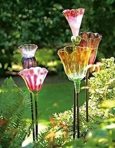 Glass Tulips made with old ceiling fan bulbs