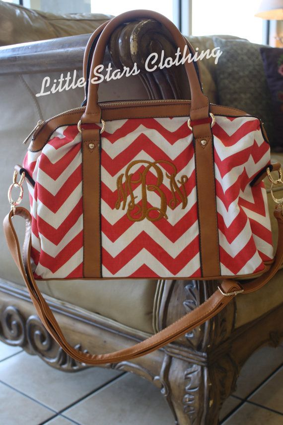 Monogrammed Red Chevron Ally by littlestarsclothing on Etsy, $42.99 - How cute would this be for the honeymoon with your new initials on it?