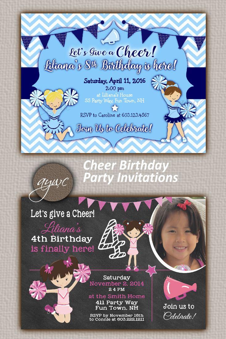 Cheerleading Birthday Party Invitation Girl Printable Cheerleading