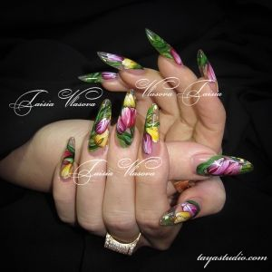Дизайн ногтей 11: Весенний дизайн ногтей с тюльпанами
