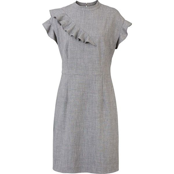 Grey Lovely Peplum Sleeve Shift Dress | Oliver Bonas (335 BRL) ❤ liked on Polyvore featuring dresses, grey shift dress, long-sleeve shift dresses, military green dress, gray peplum dress and shift dress