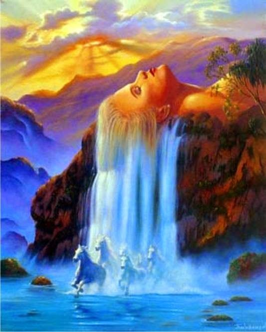 ILLUSN.com: Lady Hair & Beautiful Waterfall Illusn Artwork ...