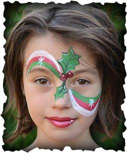 plusieurs modèles de maquillage : houx, renne, père noël, bonhomme de neige...