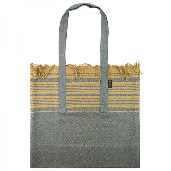 Foutabag Sable Et Bleu De Chine Karawan Authentic Sac Sac De Cours Coton Bio