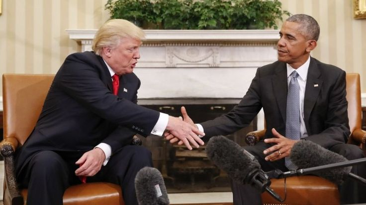 """President Barack Obama describes White House transition talks with Donald Trump as """"excellent""""."""