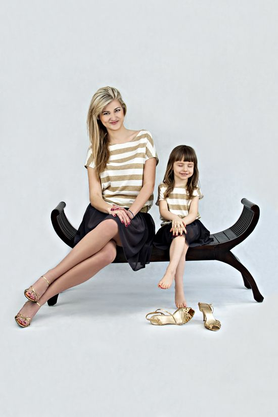 Blouse with gold stripes - 2 pcs - MOTHER AND DAUGHTER SET Set of two oversize summer tops. Wide gold and white stripes will add chic and elegance.  Matching mommy and daughter outfits. Shop at www.thesame.eu News at www.facebook.com/thesame.eu #thesame #shirts #blouse #goldstripes #strips #comfortable #elegant #timelass #ecru #polishfashion #kidsfashion #womanfashion #momandchild #girlfashion #matchingclothes #stylishkids #stylishmother #stylishgirl