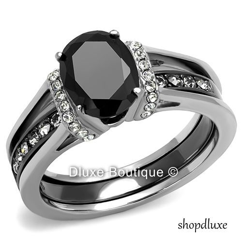 250 CT OVAL CUT CZ BLACK STAINLESS STEEL WEDDING RING SET WOMENS SIZE 5 10