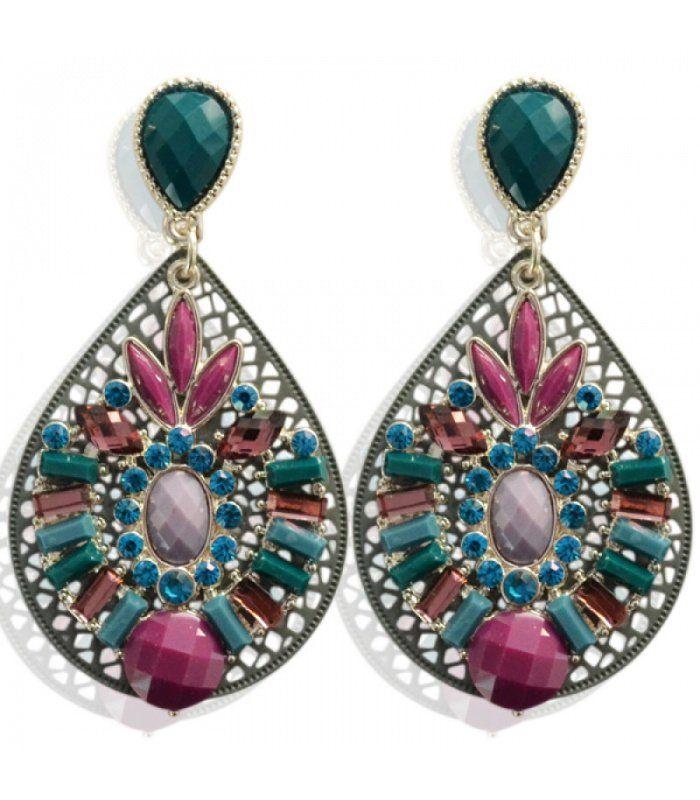 Grijze oorbellen met grote steen en strass steentjes|Strass stenen koop je online|Snelle levering | Yehwang fashion en sieraden