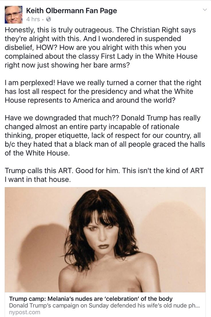 """These same """"Christians"""" that suddenly feel the Nude pictures of Melania Trump is """"OK because it's Art"""" would have called for the Immediate Hanging of Michelle Obama and President Obama had it been them. These people are Awful, Truly Awful."""