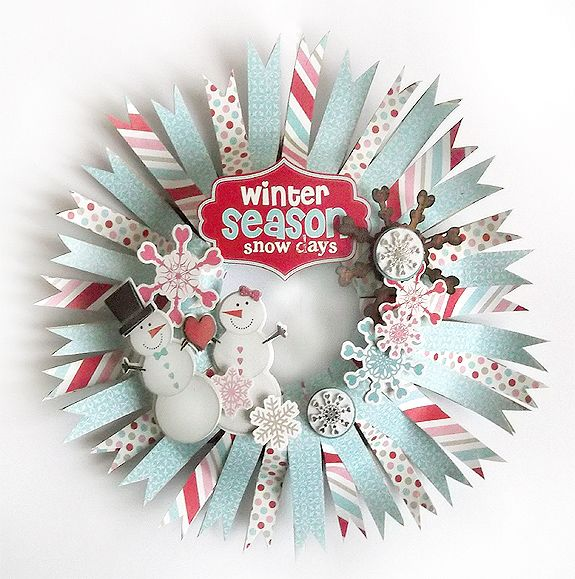 Too stinking cute! Paper banner wreath from Pink Paislee. I'm thinking using a cardboard base would be perfect. SO many possibilities!