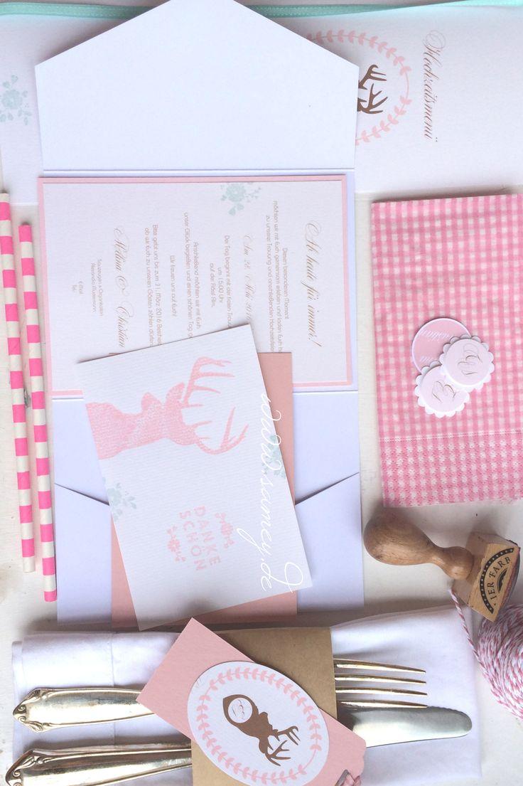 Hochzeitseinladung Kollektion Allgäu, Pocketfoldkarte mit Einleger, kariert, Hirschkopf,