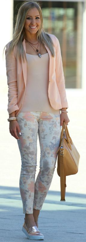 ♥Pastel blazer floral pants. women fashion outfit clothing style apparel @roressclothes closet ideas