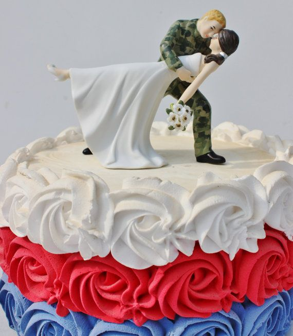 Military US Army Camo Soldier wedding cake topper by CarolinaCarla