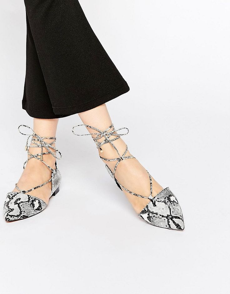 Image 1 of ASOS LOCKET Lace Up Pointed Ballet Flats