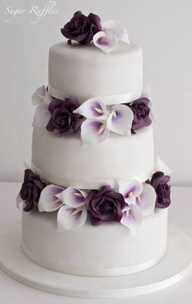 Perfect for a purple wedding - a cake with calla lilies and purple roses ~ http://www.modwedding.com/galleries/wedding-cakes-desserts/