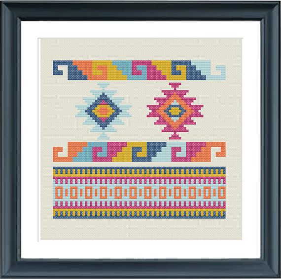 A geometric pattern, Navajo, aztec, tribal.  The pattern comes as a PDF file that youll will be able to download immediately after purchase. In