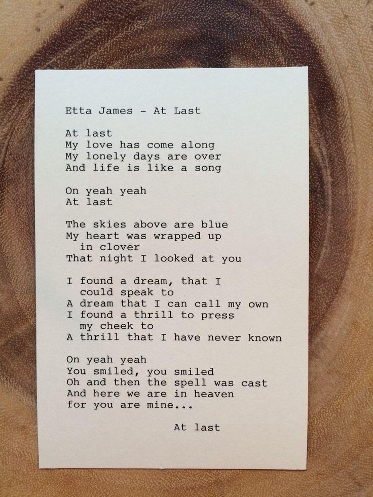 """Etta James: """"At Last"""" Lyrics - Original Typography by TypographyByMel on Etsy"""