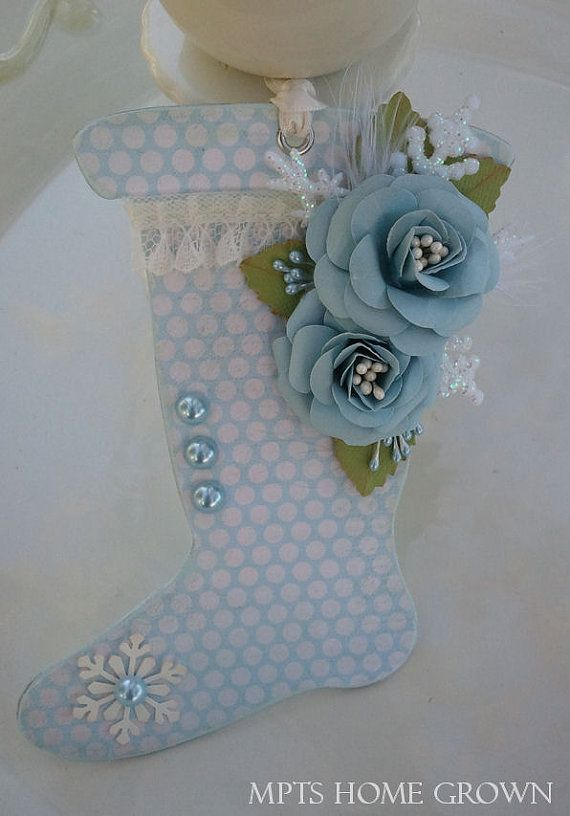 Shabby Chic - Stocking Ornament - Blue