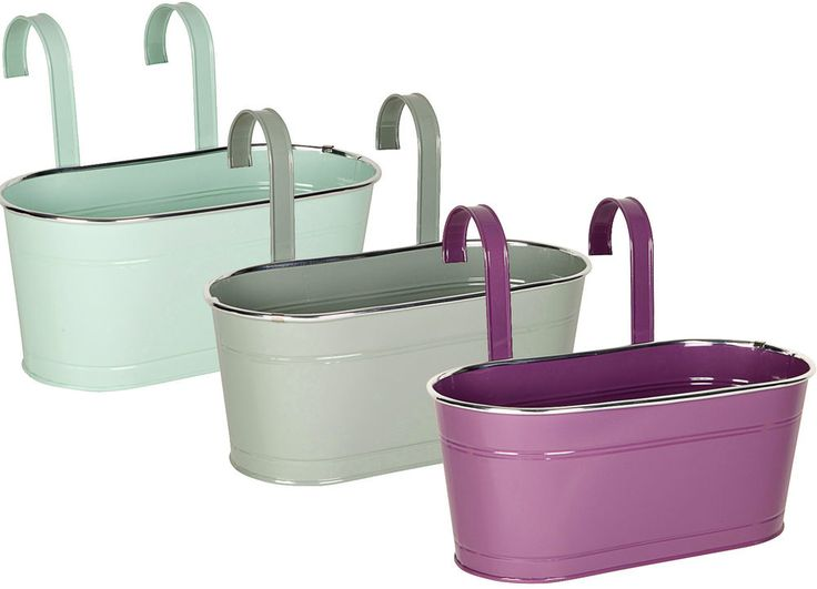 Flower Baskets Homebase : Pastel colours double fence planters garden outdoor metal