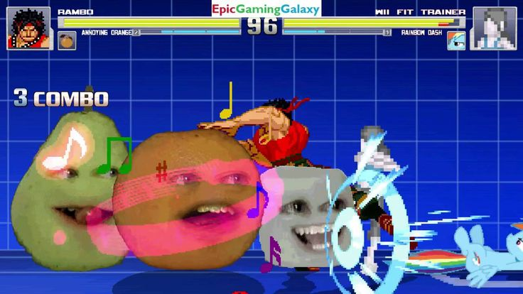 Rainbow Dash And Wii Fit Trainer VS John Rambo And Annoying Orange In A MUGEN Match / Battle / Fight This video showcases Gameplay of The Annoying Orange And John Rambo From The Rambo Series VS Wii Fit Trainer And Rainbow Dash From The My Little Pony Friendship Is Magic Series In A MUGEN Match / Battle / Fight