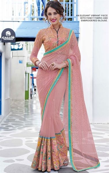 Impressive Dusty Pink Party Wear Saree