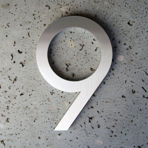 Modern House Number Aluminum Modern Font Number Nine 9 6