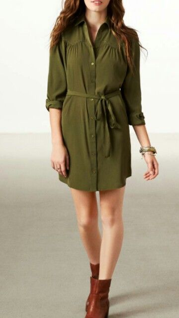 Olive Green Dress Brown Boots Fashion Women Dress