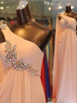 A-Line/Princess One-shoulder Sleeveless Ruffles Floor-length Chiffon Dress