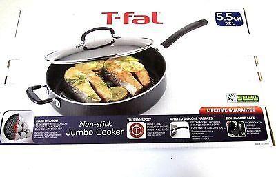 T-fal Specialty Nonstick Jumbo Cooker Saute Pan w/ Glass Lid- 5.5 QT/5.2L