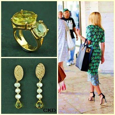 Anel com quartzo green gold e brincos com citrino e pérolas barrocas de água doce!! www.ckdsemijoias.com.br