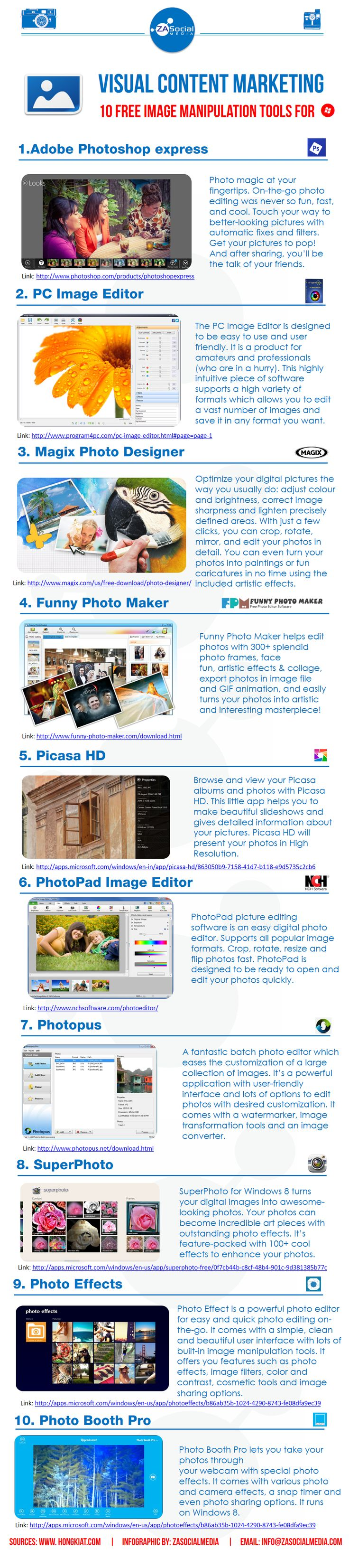 Visual Content Marketing - 10 Free Image Manipulation Tools
