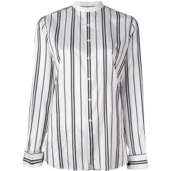 Polo Ralph Lauren striped collarless shirt ($252) ❤ liked on Polyvore featuring tops, white, white striped shirt, striped shirt, polo ralph lauren shirts, shirt top and white shirt