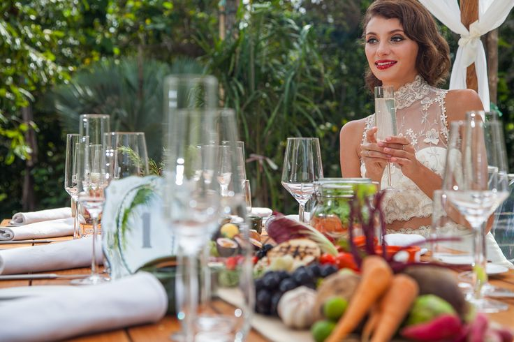 Bride at Dining Table